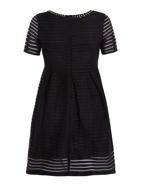 Yumi Black Textured Skater Dress