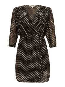 Yumi Polka dot faux wrap dress