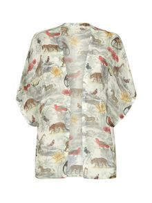Noah`s safari print kimono cover up top