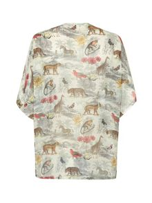 Uttam Boutique Noah`s safari print kimono cover up top