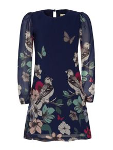 Girls Bird And Butterfly Floral Dress