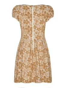 Mela Loves London Capped sleeve floral flock dress