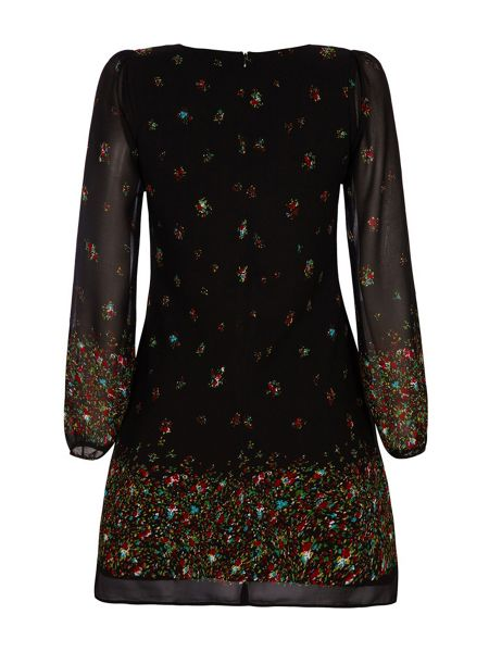 Yumi Butterfly and Floral Sleeved Tunic Dress