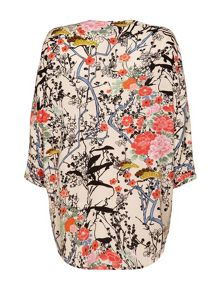 Eastern floral print kimono cover up