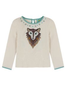 Uttam Girls Wolf Print T-Shirt