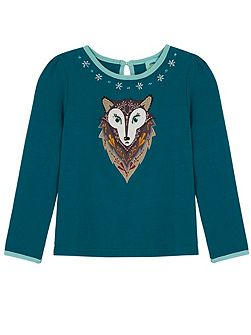 Girls Wolf Print T-Shirt