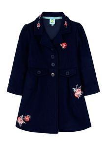 Rose Embroidery Fit And Flare Coat