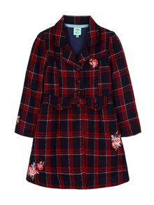 Embroidery Check Fit And Flare Coat