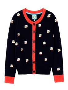 Uttam Panda With Glasses Embroidered Cardigan