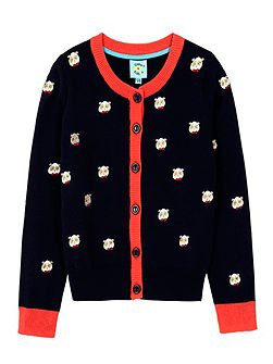 Panda With Glasses Embroidered Cardigan