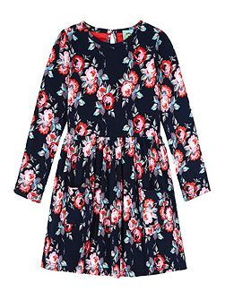 Rose Print Long Sleeved Jersey Dress