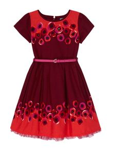 Poppy Print Border Dress