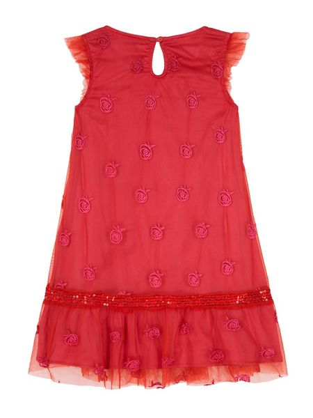 Uttam Floral Embroidery Mesh Party Dress