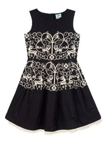 Girls Monochrome Forest Print Party Dress