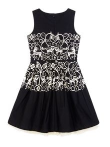 Uttam Girls Monochrome Forest Print Party Dress