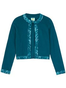 Uttam Girls Sequin Trim Cardigan