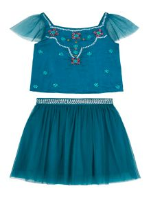 Uttam Girls Mesh and Satin Party Top and Skirt Set