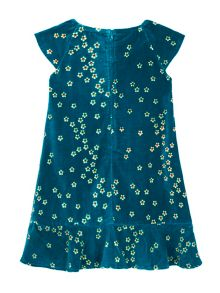 Uttam Girls Blossom Floral Print Velvet Dress