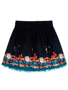 Uttam Girls Forest Border Print Skirt