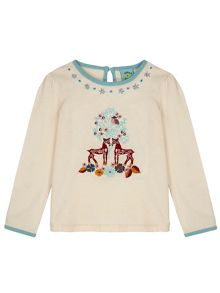 Uttam Girls Forest Embroidered Long Sleeved Top