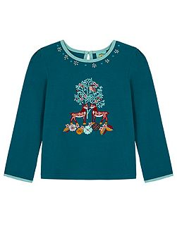 Forest Embroidered Long Sleeved Top