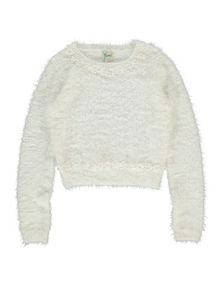 Yumi Girls Girls Daisy Embellished Fluffy Jumper