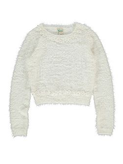 Girls Daisy Embellished Fluffy Jumper