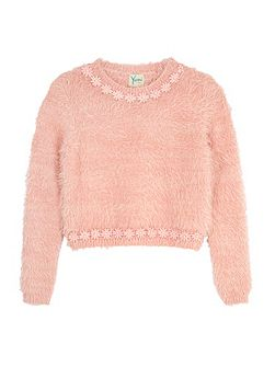 Daisy Embellished Fluffy Jumper