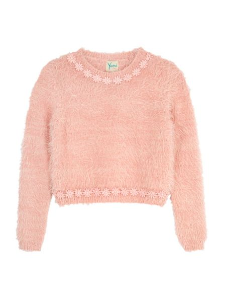 Yumi Girls Daisy Embellished Fluffy Jumper