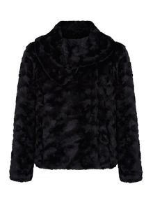 Faux Fur Shawl Collar Jacket