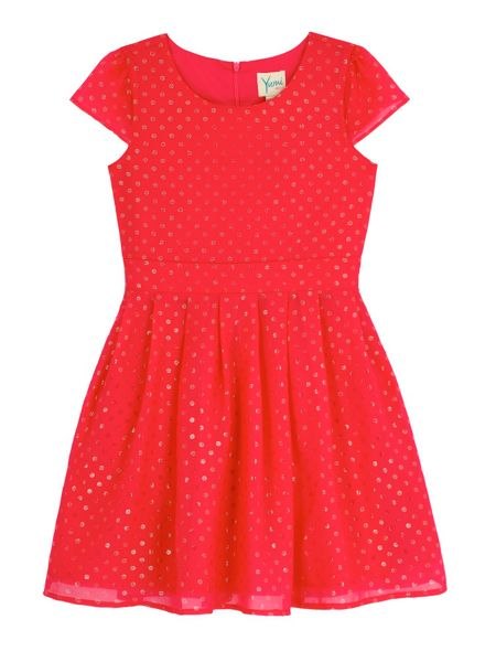 Yumi Girls Foil Polka Dot Party Dress