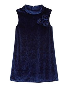 Yumi Girls Girls Velvet Corsage Shift Dress