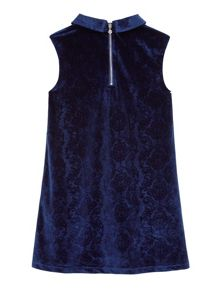 Girls Velvet Corsage Shift Dress