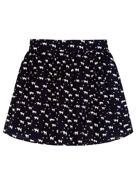 Yumi Girls Girls Cat Print Skater Skirt