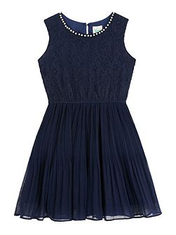 Pearl Trim Lace Party Dress