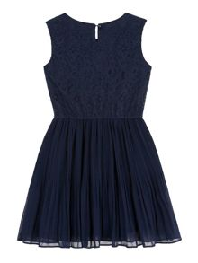 Yumi Girls Pearl Trim Lace Party Dress
