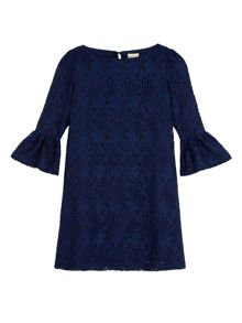 Funnel Sleeve Lace Shift Dress