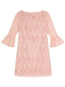 Yumi Girls Funnel Sleeve Lace Shift Dress