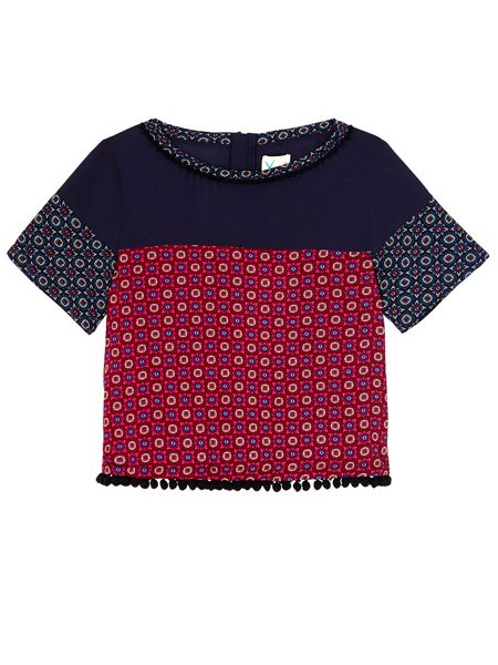 Yumi Girls Mix And Match Tile Print Top