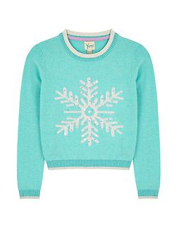 Girls Snowflake Print Jumper