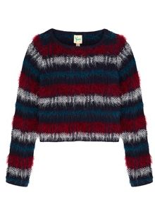 Yumi Girls Check Cropped Jumper