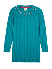 Girls Embellished Cable Jumper Dress