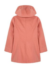 Yumi Girls Heart Button Hooded Duffle Coat