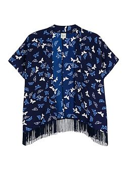 Butterfly Print Fringed Kimono