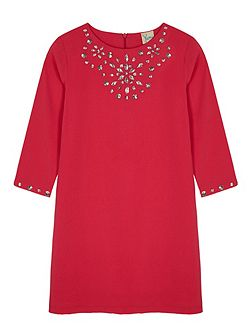 Girls Embellished Long Sleeve Shift Dress