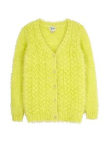Yumi Girls Fluffy Cable Cardigan
