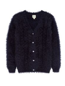 Girls Fluffy Cable Cardigan