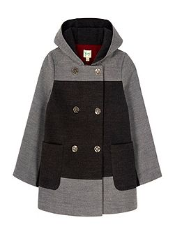 Two Tone Double Breasted Hood Coat