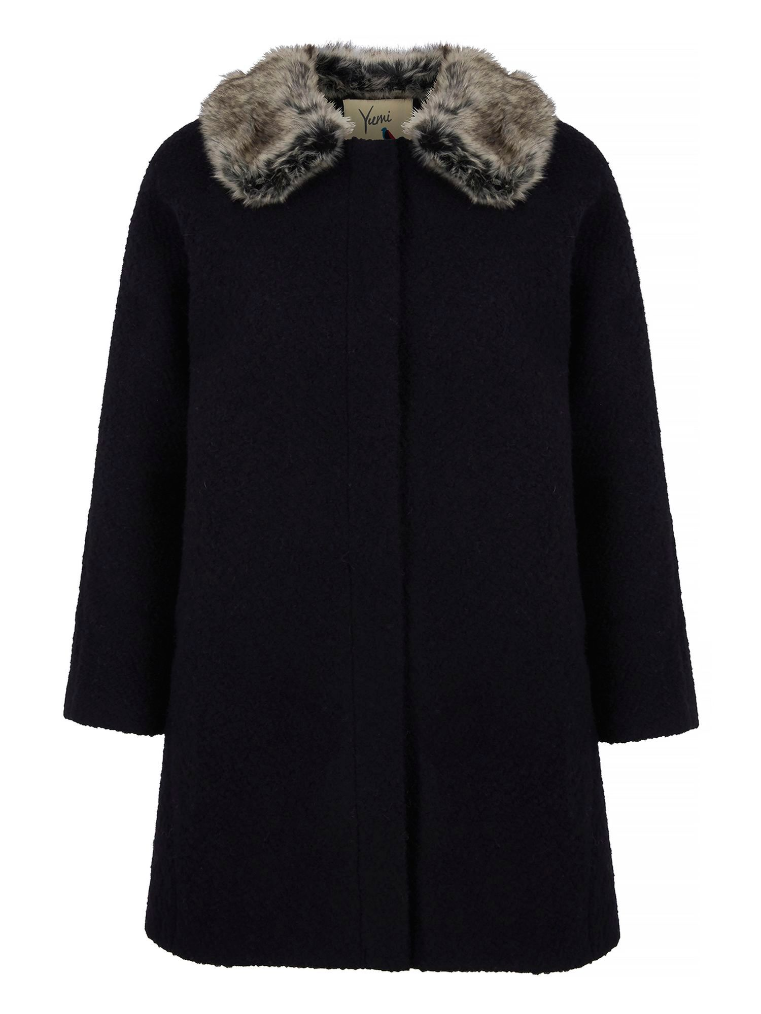 Shop 1960s Style Coats and Jackets Yumi Faux Fur Collar Swing Coat £65.00 AT vintagedancer.com