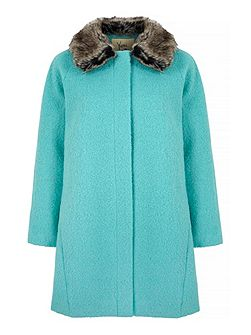 Faux Fur Collar Swing Coat